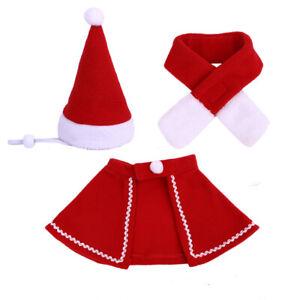 Weihnachten-Haustier-Cape-Hut-Schal-Set-Mantel-Welpen-Laetzchen-Kostuem-Neu