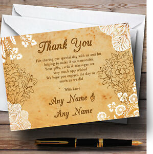 Shabby Chic Rustic Vintage Lace Personalised Wedding Thank You Cards