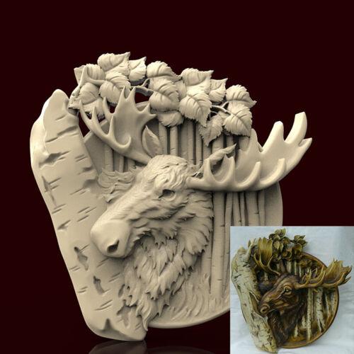 Engraver Carving Machine Relief Artcam Plate Elk 3d STL Model CNC AP026