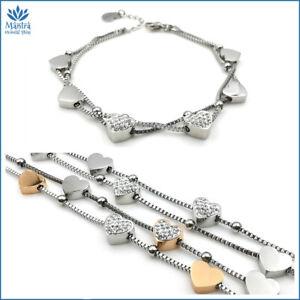 Bracciale da donna braccialetto multifilo con cuore in acciaio catena argento a