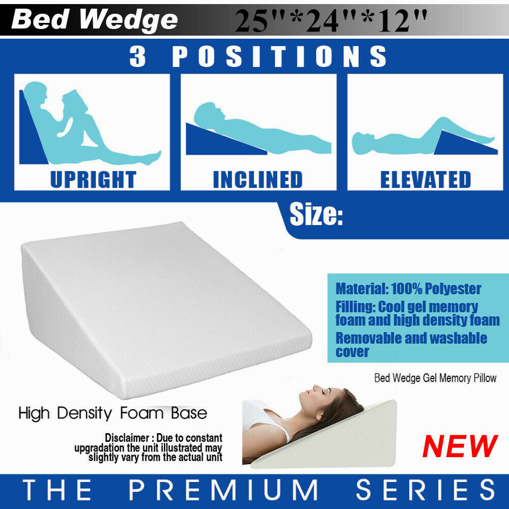 12Inch Large Acid Reflux Flex Wedge Upright Support Bed Pillow Removable Cover 1