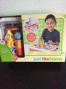 New Just Like Home Kitchen Sink Set Real Running Water Dishes Toys R Us Ebay