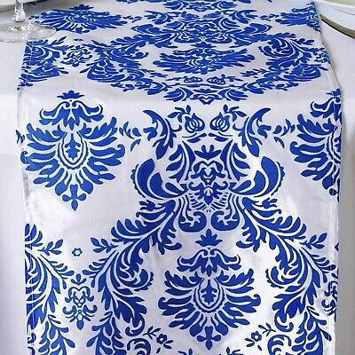 Royal Blue & White Colore Damasco Tavolo Runner- L'Ultima Moda