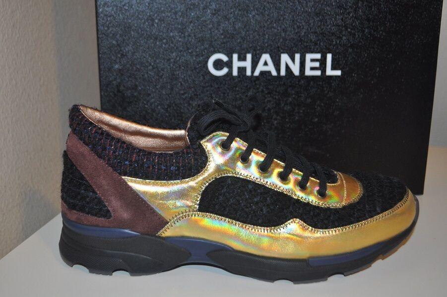 CHANAEL 14K Runway Tweed Multi Coloree Olografic  Lace Up Fashion scarpe da ginnastica scarpe 35  vendite online