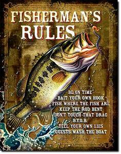 Angelsport-Regeln-Angeln-Fischer-Plakat-Sign-Reproschild-Werbung-616