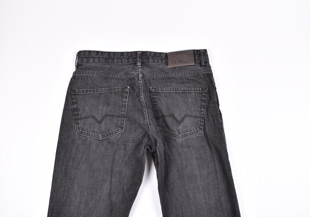 Hugo Boss Nero Rigida Arancione 25 Uomo Jeans Taglia 33 36, Originale