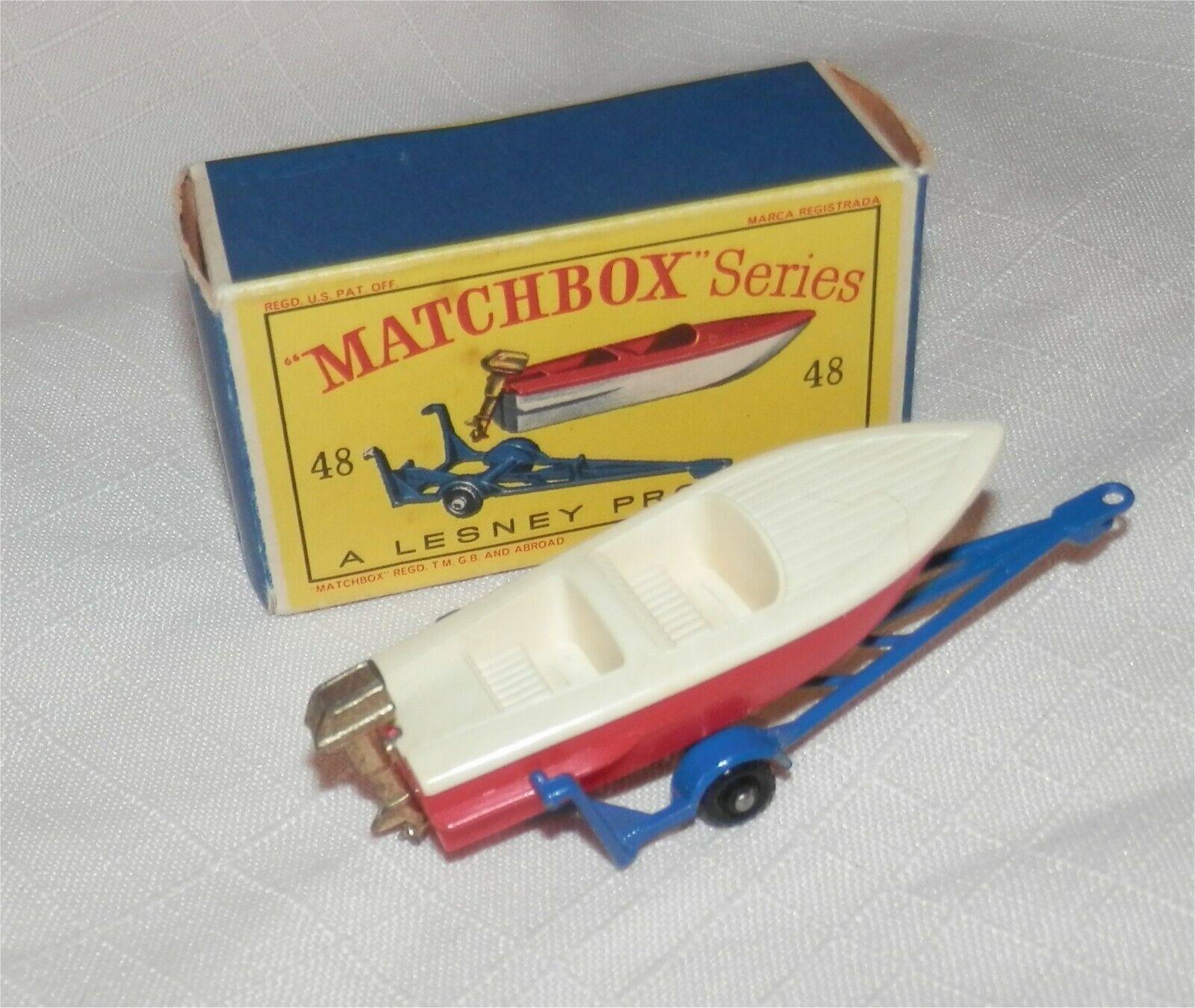 1960 s. LESNEY. MATCHBOX 48 BOAT or Motor & remorque. Menthe en Boîte, tous d'origine