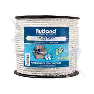 200m 30-120 Woodstream Rutland Electric Fencing 30-120R Electro White Rope
