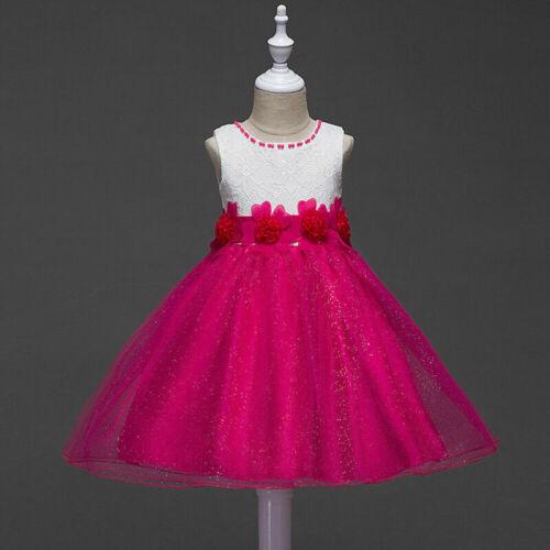 3-15Y Lace Girls Sleeveless Flower Dress Lace Bow Princess Skater Tutu Dresses
