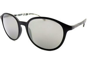 0afabf05f831 Image is loading HUGO-BOSS-round-Sunglasses-Matte-Black-Silver-Mirrored-