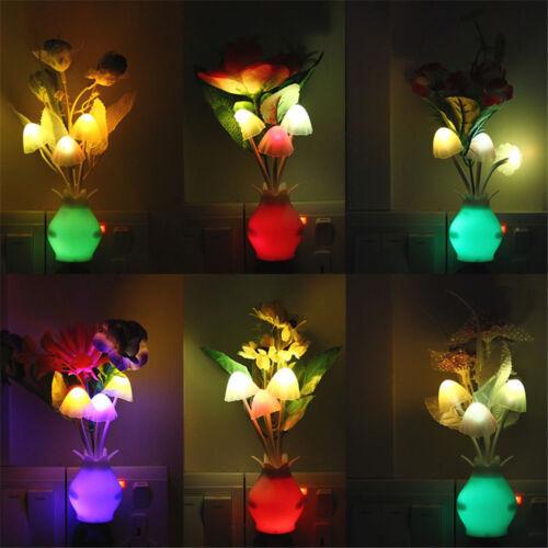1XUS Plug Romantic Flower Mushroom LED Night Light Sensor Bed Room Lamp Decor