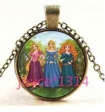 Vintage princess Cabochon  Bronze Glass Chain Pendant Necklace TS-3245
