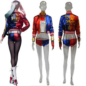 Halloween Joker And Harley Quinn Costumes.Details About Joker Harley Quinn Suicide Squad Full Suit Costumes Cosplay Halloween Uniform Sc