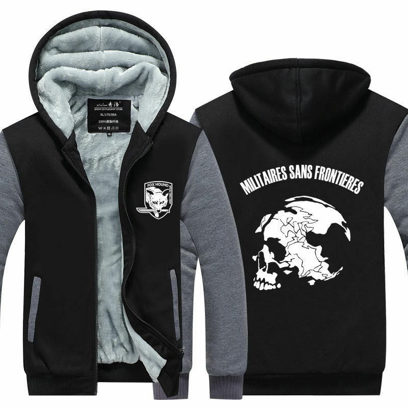 MGS 5 Metal Gear Solid V Fox Hound Logo Zip Up Super Warm Fleece Hoodies Coats