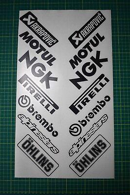 MATT BLACK MotoX Motorbike Belly Pan Decal Sponsor Sticker Set 14 Decals