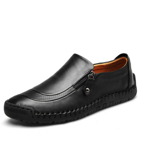 Men/'s Hand Stitching Zipper Slip-ons Leather Shoes Casual Loafers 39-44 Fashion