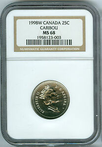 1998-W CANADA 25 CENTS NGC MS68 2ND FINEST GRADED *