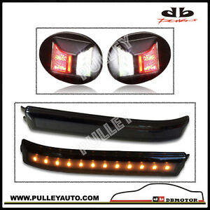 DBMOTOR 2009-2014 Ford F150 Smoked LED Side Mirror Reflector + LED License Lamp