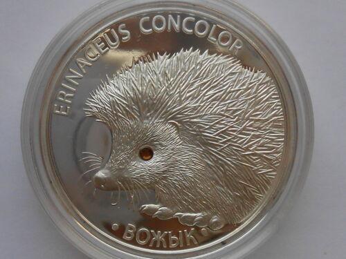 Belarus Weißrussland   20 rubel 2011 Hedgehog  Igel  Silver 1 oz Coa crystals