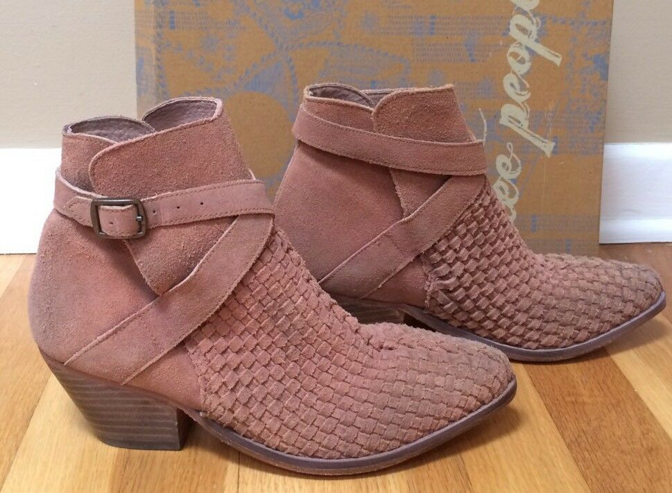 FREE PEOPLE 'Venture' Woven Suede Ankle Boots - size 37 EUR (7 US) $198 Retail