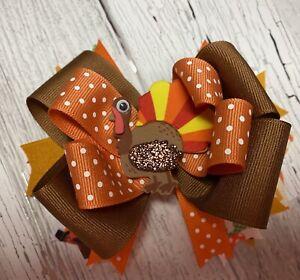 Orange polka dots ribbon hair bow