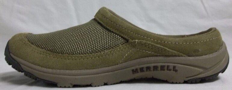 Merrell Taglia 6.5 Pelle Mesh Slip Clogs On Clogs Slip Khaki verde