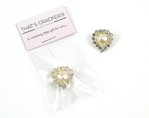 Jolie Strass /& Perle en forme de cœur broche-Cracker Remplissage Sac Cadeau
