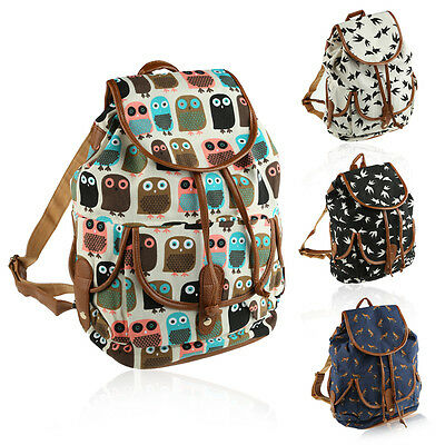 Women Girl Vintage Style Canvas Backpack Student Bag School Bookbag Rucksack