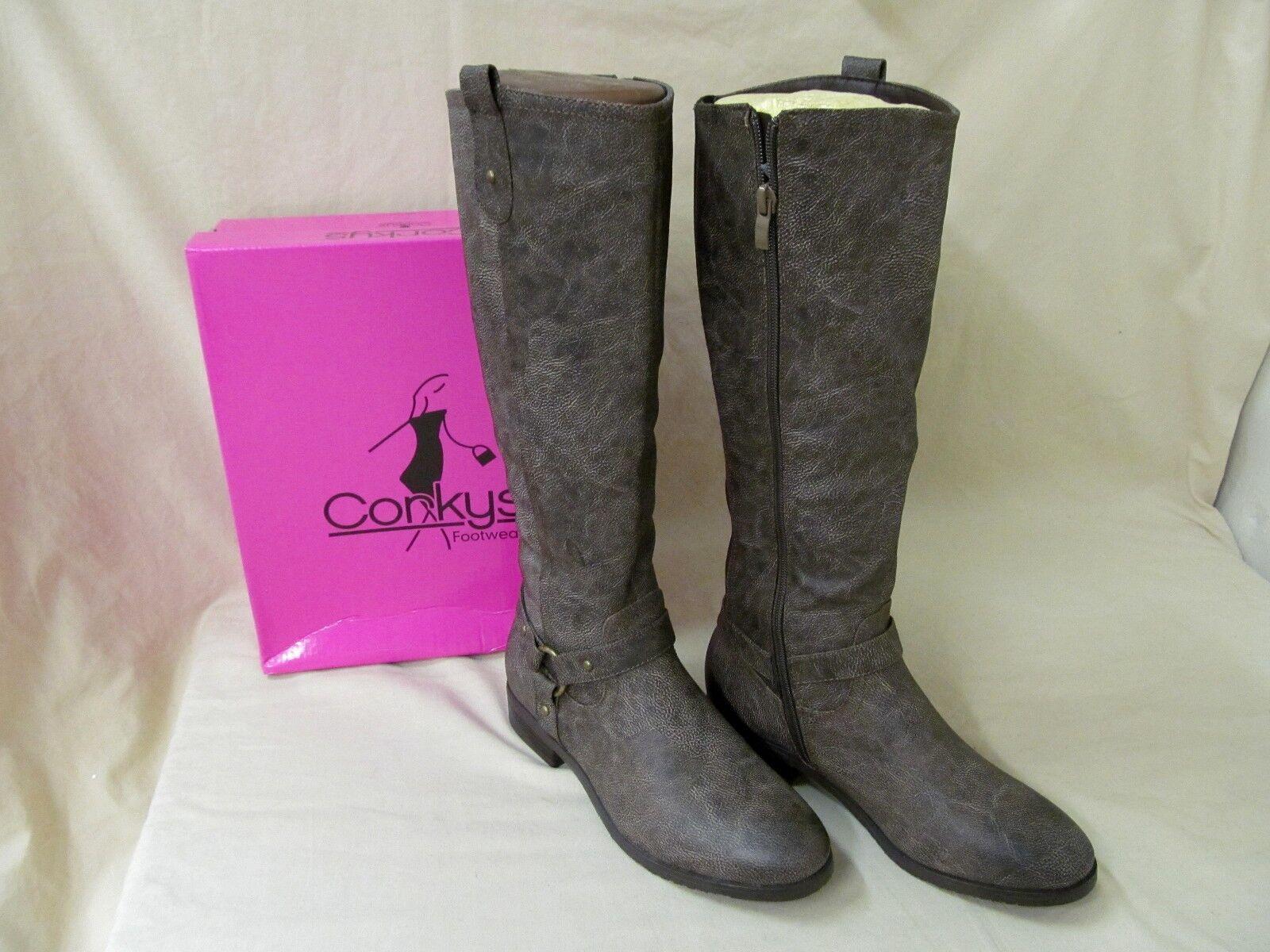 "Women's Corkys 11M Brown Distressed Cherokee Zip 15.5"" Fashion Boots"