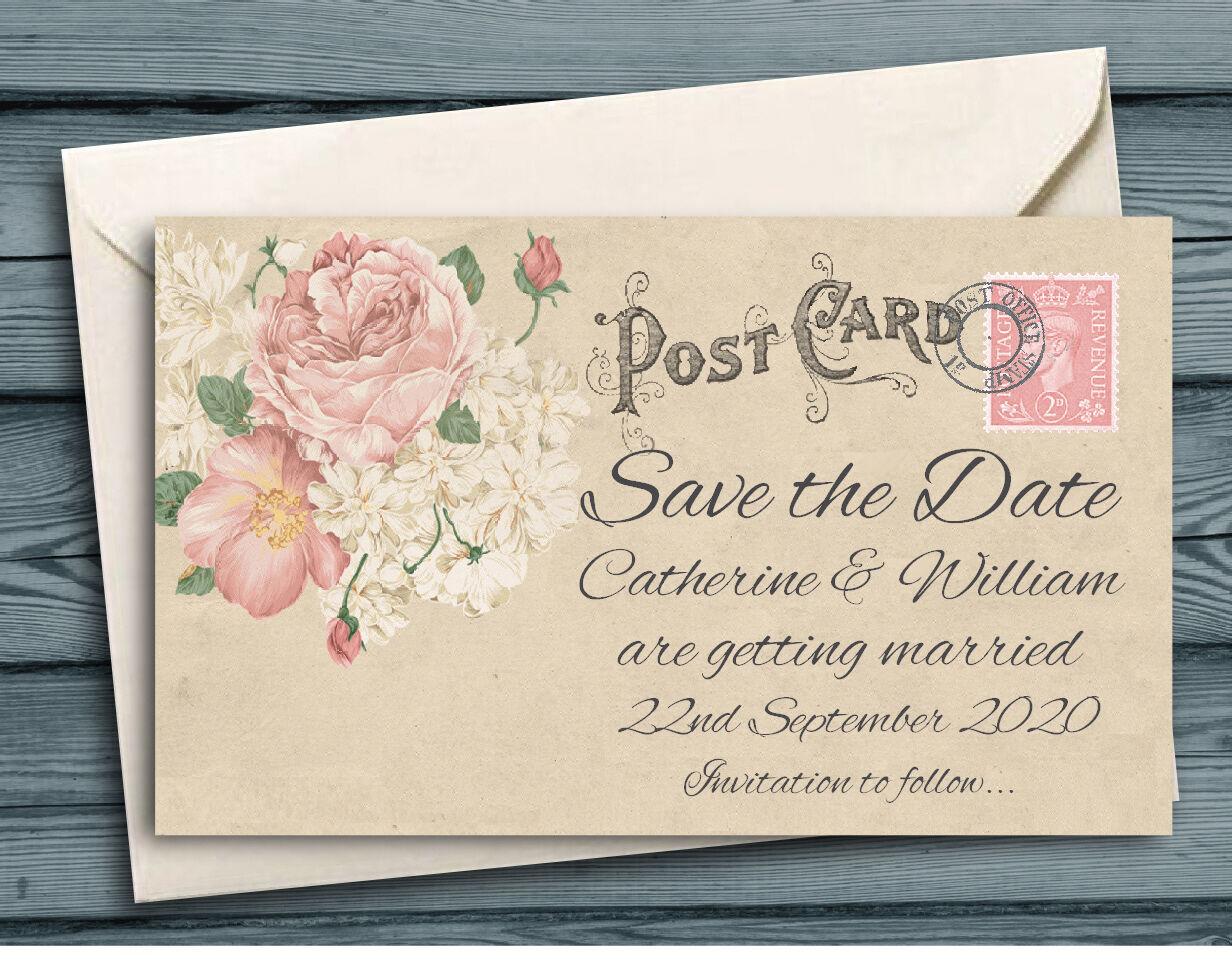 Save the date aimants personnalisé mini cartes postales roses cartes postales + enveloppes