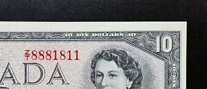 1954-Bank-of-Canada-10-Beattie-Rasminsky-2-digits-Z-T8881811-BC-40b-AUNC