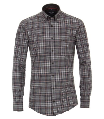 Casa Moda-Comfort fit-Melange Uomo Camicia A Quadri In Antracite 483104200