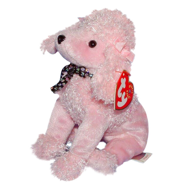 47e2123e322 RARE 2001 Ty Pink Poodle Puppy Dog Plush Toy Brigitte Beanie Babies Baby  Collar