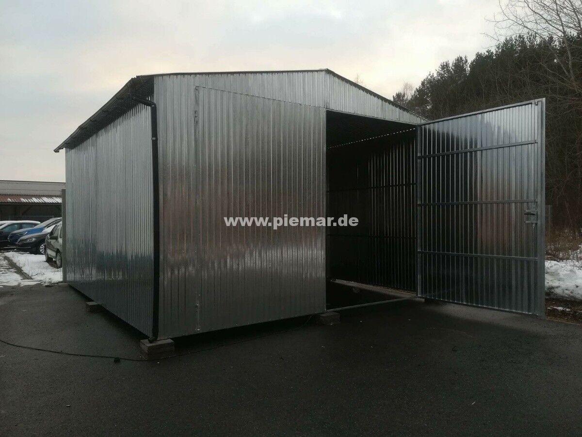 Blechgarage 5,5x8x2,65 verzinkten 4-Kantprofil Halle Garage KFZ Lager +Dachrinne