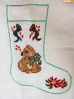 Ep 1205 Candy Cane Bear Christmas Stocking Vintage Preworked Needlepoint Canvas