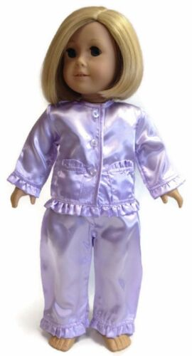 "Lavender Satin Pajamas Sleepwear made for 18"" American Girl Doll Clothes"