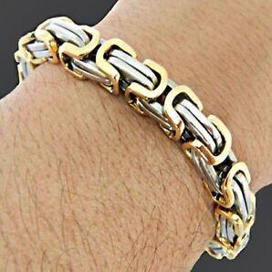 Edelstahl Königsarmband Herren Armband Kette Panzerarmband silber gold 19- 26cm