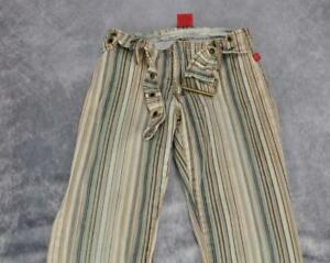 Hot-Kiss-Womens-Striped-Stretch-Bootcut-Denim-Jeans-Size-5-Multicolor