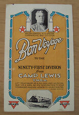 """1918 WWI Message Card~""""BON VOYAGE to 91st DIVISION""""~Camp Lewis/PERSHING~YMCA~"""
