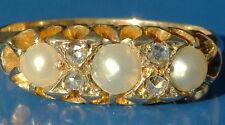 Stunning Antique Edwardian 18ct Gold Pearl & Rose Cut Diamond Ring & orig. case