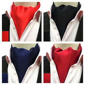Cravat-Red-Black-Blue-Silver-100-Silk-Wedding-Necktie-Ascot-Tie