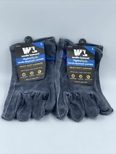 2 Pair Wells Lamont Hydrahyde Water Resistant Leather Gloves Heavy Duty Size L