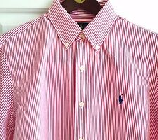 POLO RALPH LAUREN MEN'S L/S 100% COTTON RED WHITE STRIPED DRESS SHIRT NWT MEDIUM
