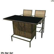 3 Piece Bar Outdoor Patio Furniture Pub Set Stools Table Chairs Pool Deck Home