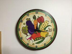 Details About Vegetable Garden Wooden Wall Clock Tomato Eggplant Corn Veggie Kitchen Decor