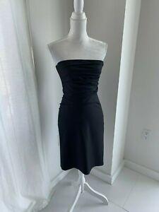 DKNY-Black-Strapless-Pinstripe-Suit-Weight-Wool-Pleated-Bodice-Dress-SZ-2-XS