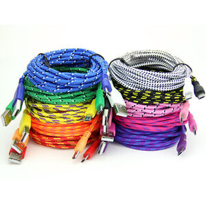 Braided Fabric Micro USB Data&Sync Charger Cable Cord 1M&2M&3M For Cell Phone