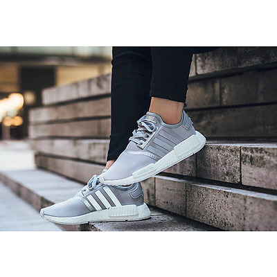 ADIDAS NMD RUNNER R1 SILVER / WHITE BRAND NEW IN BOX ALL SIZES S76004