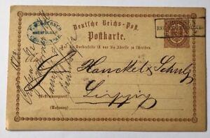 Dt-Reich-Ganzsache-P1-Crossen-nach-Leipzig-1873