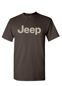 New Mopar Jeep Logo TShirt Shirt T Shirt Short Sleeve Brown - Jeep logo t shirt